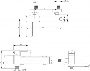 Sapho MIXONA 35 nástěnná vanová baterie, chrom MG310
