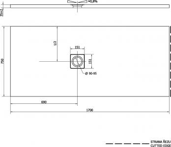 Polysan FLEXIA vanička z litého mramoru s možností úpravy rozměru, 170x75x3, 5cm 72919