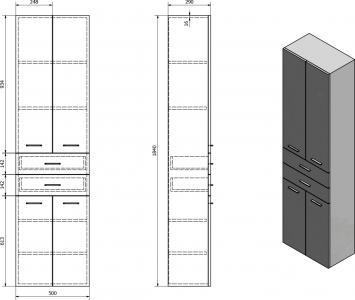 Aqualine ZOJA/KERAMIA FRESH skříňka vysoká se zásuvkami 50x184x29cm, mali wenge 51292