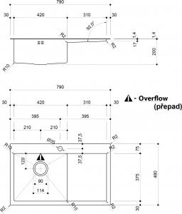 Sapho KIVA nerezový dřez s odkapem, 79x48x20 cm, provedení L, R10 EP829L