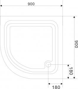 Aqualine Sprchová samonosná vanička akrylátová, čtvrtkruh 90x90x15 cm BTTR90