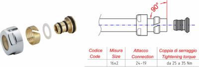 Sapho Svěrné šroubení pro Alupex 16mm, chrom CP6020