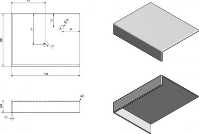 Sapho TAILOR rockstone deska 70x50 cm, provedení límce L TR070L