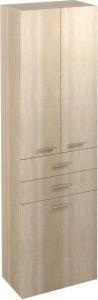 Aqualine ZOJA/KERAMIA FRESH skříňka vysoká s košem 50x184x29cm, dub platin 51295