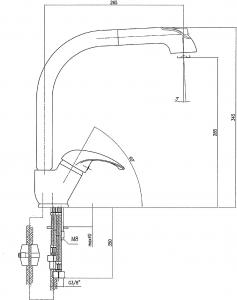 Sapho AXUS stojánková dřezová baterie s výsuvnou sprškou, výška 345mm, chrom 1112-72