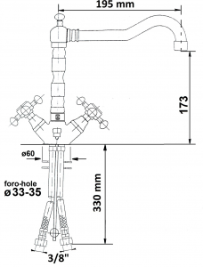 Reitano Rubinetteria ANTEA stojánková umyvadlová baterie s retro hubicí s výpustí, bronz 3376