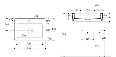 Kerasan EGO keramické umyvadlo 60x43cm 324201