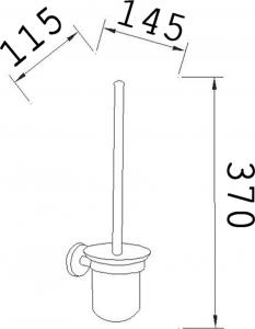 Aqualine SAMBA nástěnná WC štětka, mléčné sklo SB108