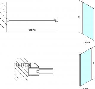 Polysan LUCIS LINE sprchová boční stěna 700mm, čiré sklo DL3215