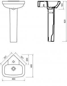 Aqualine VITROYA keramické umyvadlo rohové 46x46cm VT145