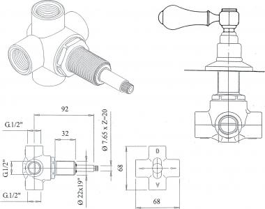 Reitano Rubinetteria ANTEA podomítkový přepínač, páčka, chrom DEVIN101
