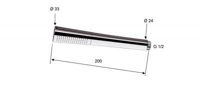 Sapho AXAMITE ruční sprcha, 200mm, mosaz/chrom AX52