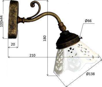 Sapho BARI svítidlo E14, 40W, 230V, keramické stínítko, bronz MC811