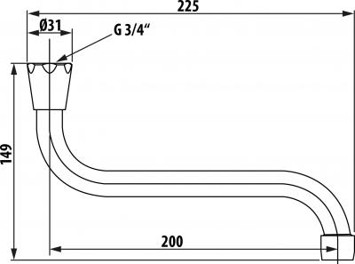 Aqualine Universální výtokové ramínko kbaterii, 20cm, typ-S, chrom 15S200