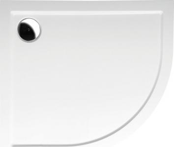 Polysan RENA L sprchová vanička z litého mramoru, čtvrtkruh 90x80x4cm, R550, levá, bílá 72890