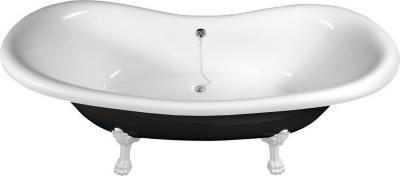 Polysan CHARLESTON volně stojící vana 188x80x71cm, nohy bílé, černá/bílá 72959