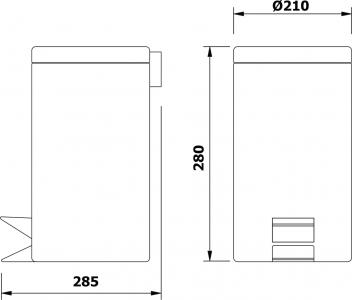 Aqualine SIMPLE LINE odpadkový koš kulatý 5l, leštěný nerez 27105