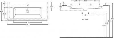 Sapho CITY keramické umyvadlo hranaté 100x18x45cm KE100