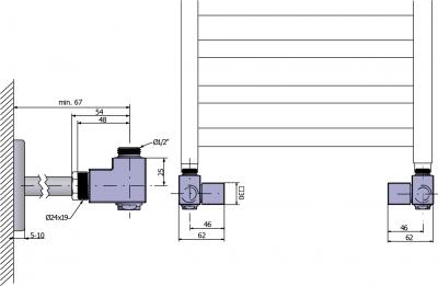 Sapho CUBE COMBI připojovací sada ventilů ruční rohová, pravá, broušený nerez CP562