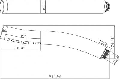Sapho Ruční sprcha, zahnutá, 245mm, ABS/černá/chrom 2503