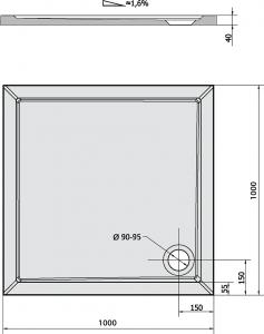 Polysan AURA sprchová vanička z litého mramoru, čtverec 100x100x4cm, bílá 60511