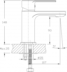 Aqualine FACTOR stojánková umyvadlová baterie bez výpusti, chrom FC103