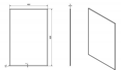 Sapho ACCORD zrcadlo s fazetou 400x600mm, zakulacené rohy, bez úchytu MF422