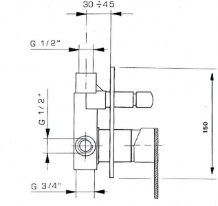 Reitano Rubinetteria MASTERMAX podomítková sprchová baterie, 2 výstupy, chrom 8795