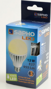 Sapho Led LED žárovka 12W, E27, 230V, teplá bílá, 955lm LDB121
