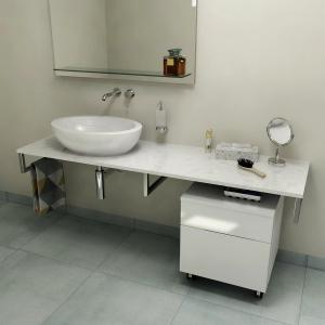 Sapho OLIVER deska 80x2x50cm, technický mramor, Calacatta OV080-1219