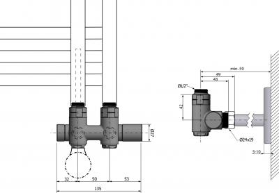 Sapho TWIN COMBI připojovací sada pro středové připojení, pravé, rozteč 50 mm, chrom CP461