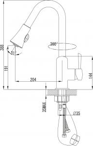 Sapho VOGUE stojánková dřezová baterie s výsuvnou sprškou, chrom 1105-63