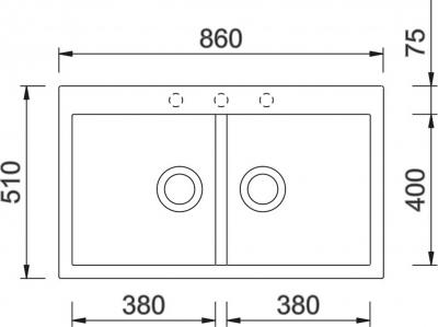 Granitový dřez Sinks AMANDA 860 DUO Metalblack TLAM860510274