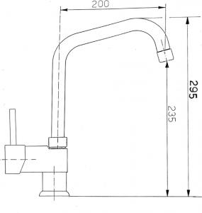 Sapho RHAPSODY stojánková dřezová baterie, výška 295 mm, chrom 5557