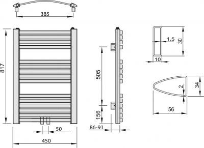 Aqualine STING otopné těleso 450x817 mm, středové připojení, 328 W, bílá NG408