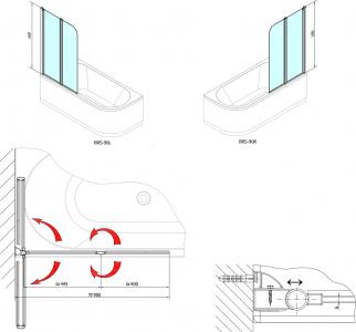 Polysan RUIZ vanová zástěna 900mm, čiré sklo BSR-90