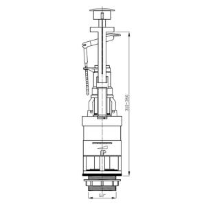 Aqualine Úsporný splachovací ventil, s funkcí STOP, jednotlačítko OVJC000