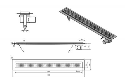 Aqualine KROKUS nerezový sprchový kanálek s roštem, 760x140x92 mm 2705-80