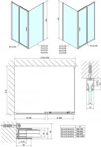 Polysan Easy Line obdélníkový sprchový kout 1200x700mm L/P varianta EL1215EL3115