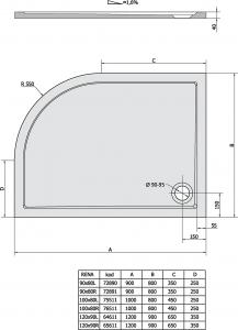 Polysan RENA L sprchová vanička z litého mramoru, čtvrtkruh 120x90x4cm, R550, levá, bílá 64611