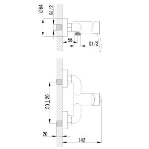 Sapho LUKA nástěnná sprchová baterie, chrom LK11