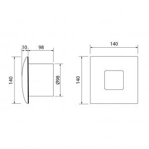 Cata SILENTIS 10 INOX T koupelnový ventilátor axiální s časovačem, 15W, 100mm, nerez 01071300