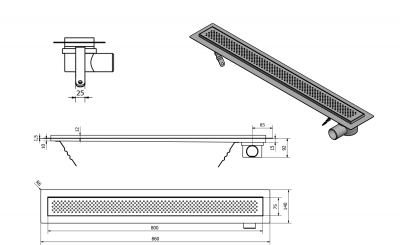 Aqualine KROKUS nerezový sprchový kanálek s roštem, 860x140x92 mm 2705-90