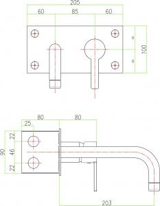 Sapho ESPADA podomítková umyvadlová baterie, chrom ES08