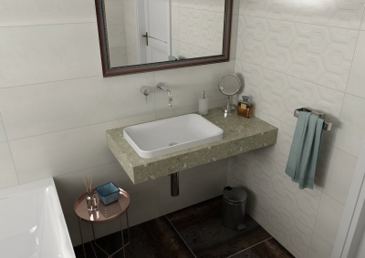 Sapho TAILOR rockstone deska 90x50 cm, provedení límce L TR090L