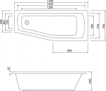 Aqualine OPAVA vana 170x70x44cm bez nožiček, pravá, bílá A1771