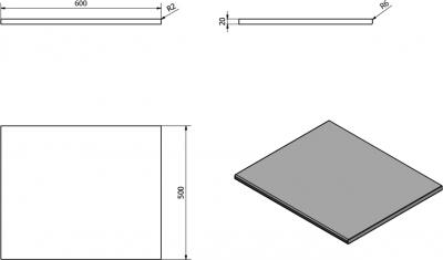 Sapho OLIVER deska 60x2x50cm, technický mramor, Aurora OV060-1217