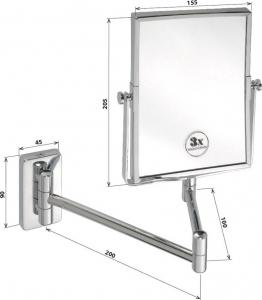 Bemeta Kosmetické zrcátko hranaté závěsné, 155x200mm, chrom 112201612