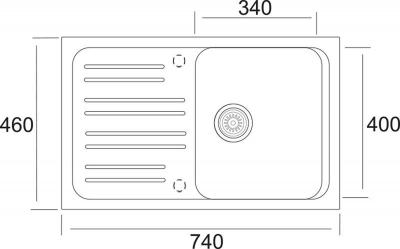 Granitový dřez Sinks CLASSIC 740 Metalblack ACRCL74046074