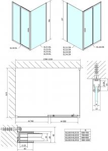 Polysan Easy Line obdélníkový sprchový kout 1600x800mm L/P varianta EL1815EL3215